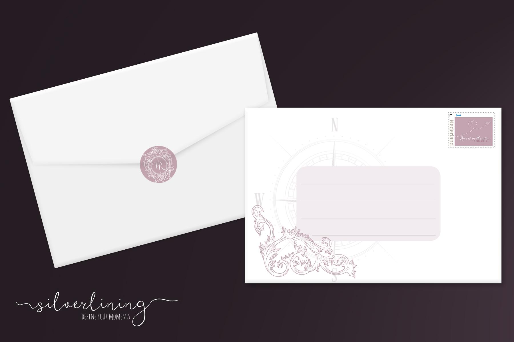 Envelope sluitzegel postzegel Tamara en Remon